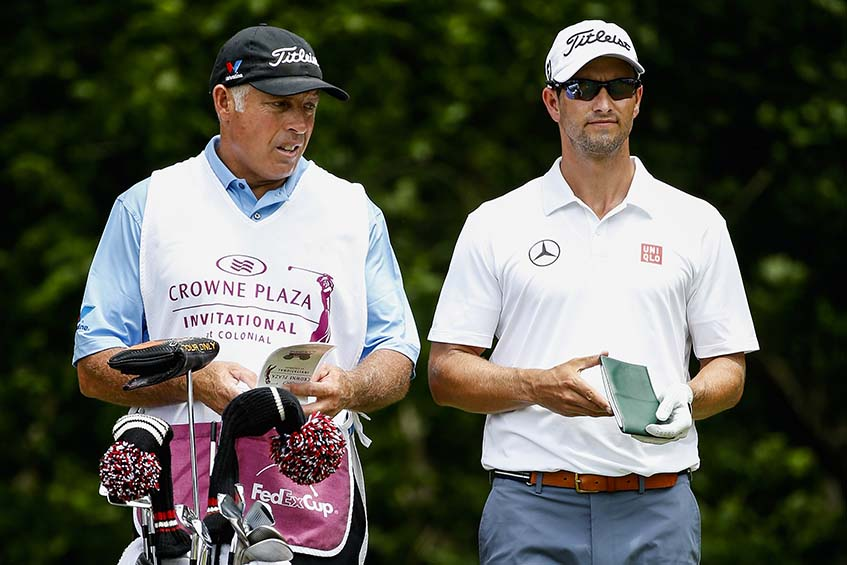 Adam Scott avec son caddie Steve Williams